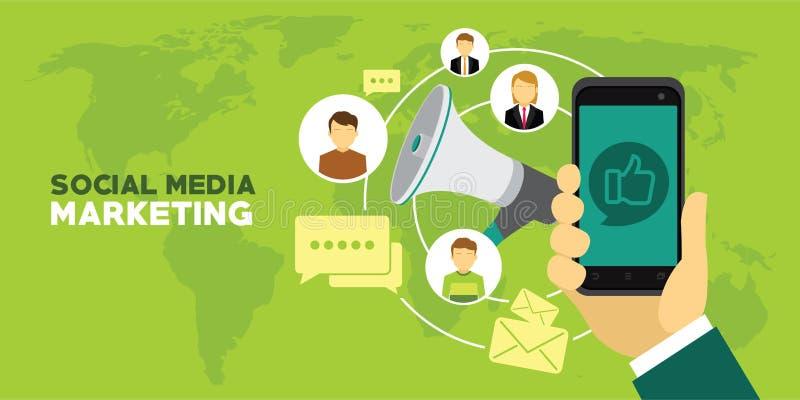 Sociale media die digitale het ontwerp sociale netwerk van de conceptenaffiche en media mededeling op de markt brengen royalty-vrije illustratie