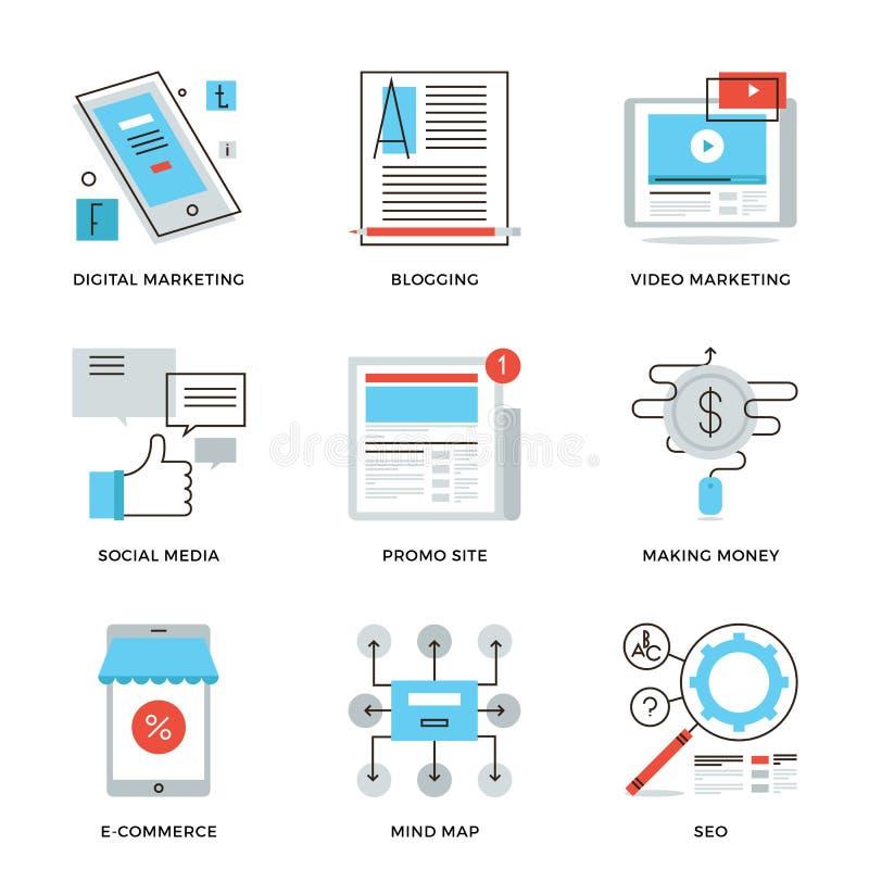 Sociale media die geplaatste lijnpictogrammen op de markt brengen stock illustratie