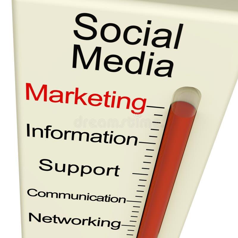 Sociale Media die Meter op de markt brengen stock illustratie