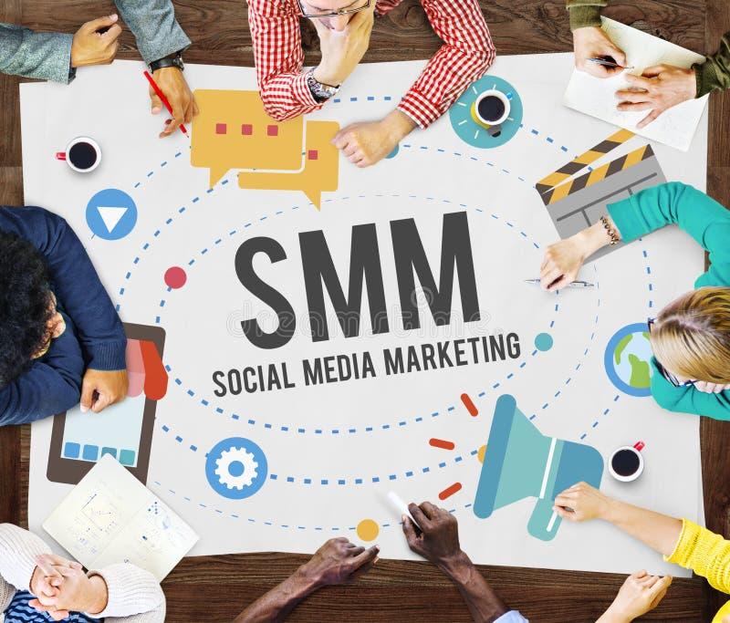 Sociale Media die Online Bedrijfsconcept op de markt brengen stock fotografie