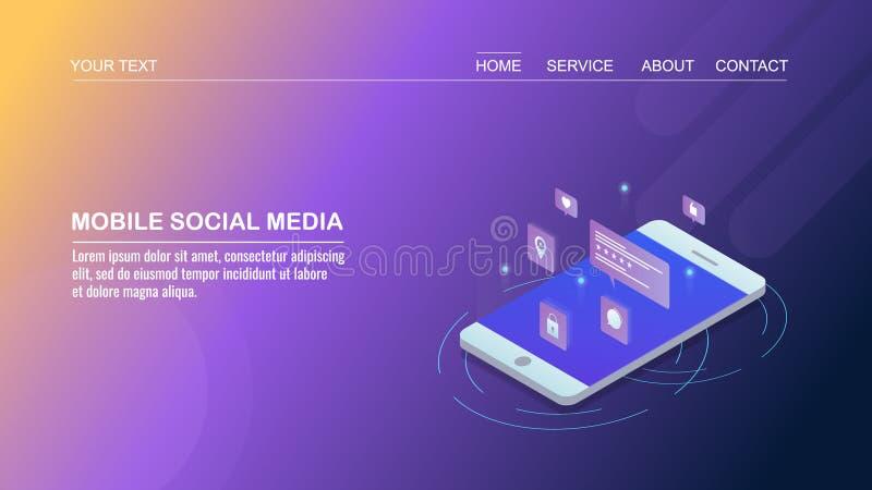 Sociale media die op mobiel, sociaal netwerken app, digitale marketing, isometrisch ontwerpconcept op de markt brengen royalty-vrije illustratie