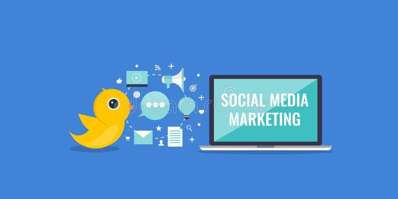 Sociale media die tekst op laptop het scherm op de markt brengen, - vlakke ontwerp sociale media banner