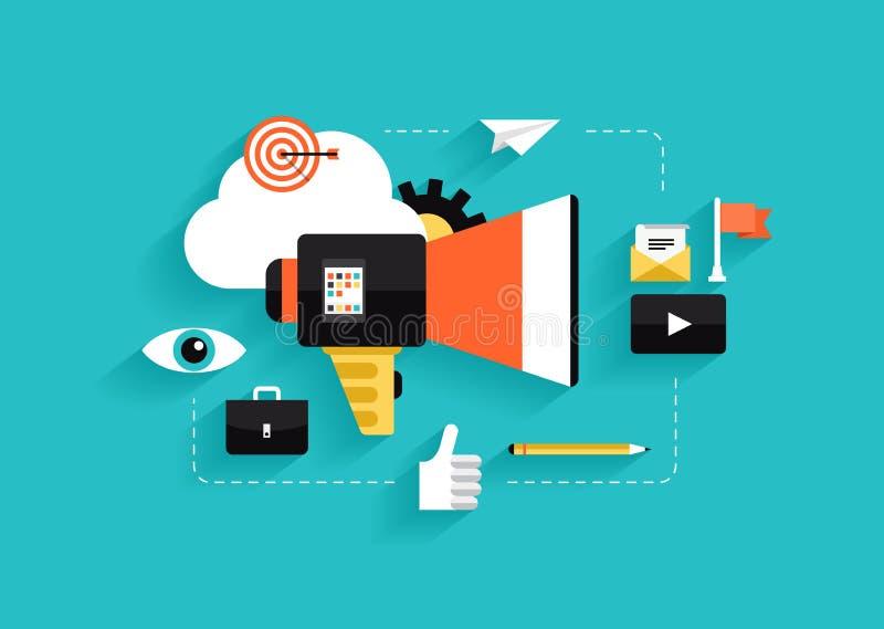Sociale media die vlakke illustratie op de markt brengen
