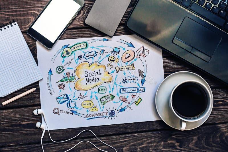 Sociale media die, Zaken, Technologie, Internet op de markt brengen royalty-vrije stock afbeelding