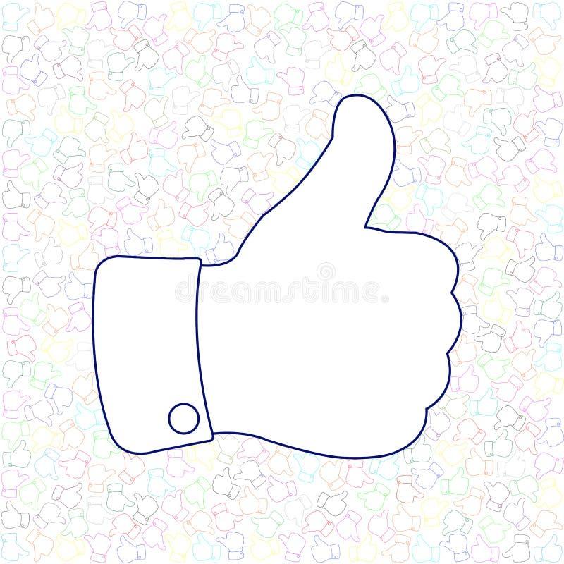 Sociale Media Duim omhoog zoals Achtergrond stock illustratie