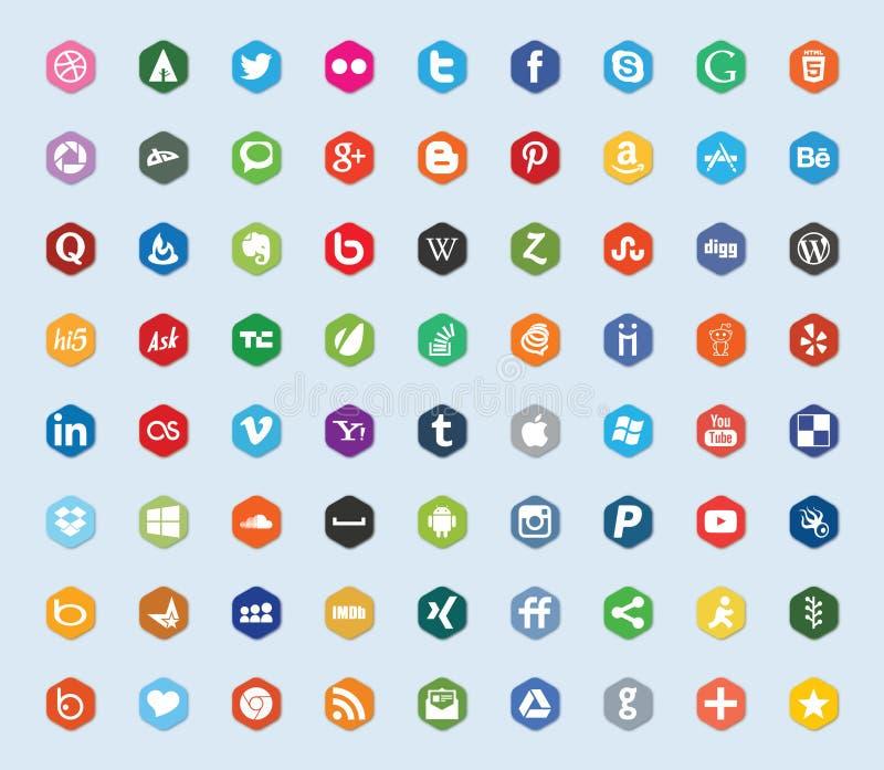 Sociale media en de vlakke pictogrammen van de netwerkkleur vector illustratie