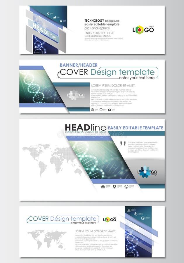 Sociale media en geplaatste e-mailkopballen, moderne bannermalplaatjes Het malplaatje van het dekkingsontwerp, gemakkelijke edita stock illustratie