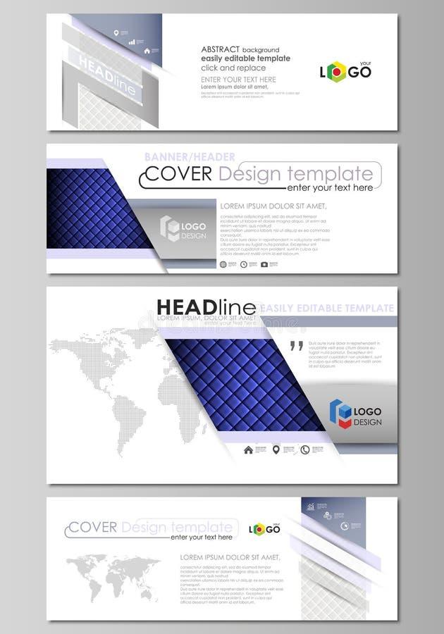 Sociale media en geplaatste e-mailkopballen, moderne banners Abstract ontwerpmalplaatje, vectorlay-outs in populaire grootte glan royalty-vrije illustratie