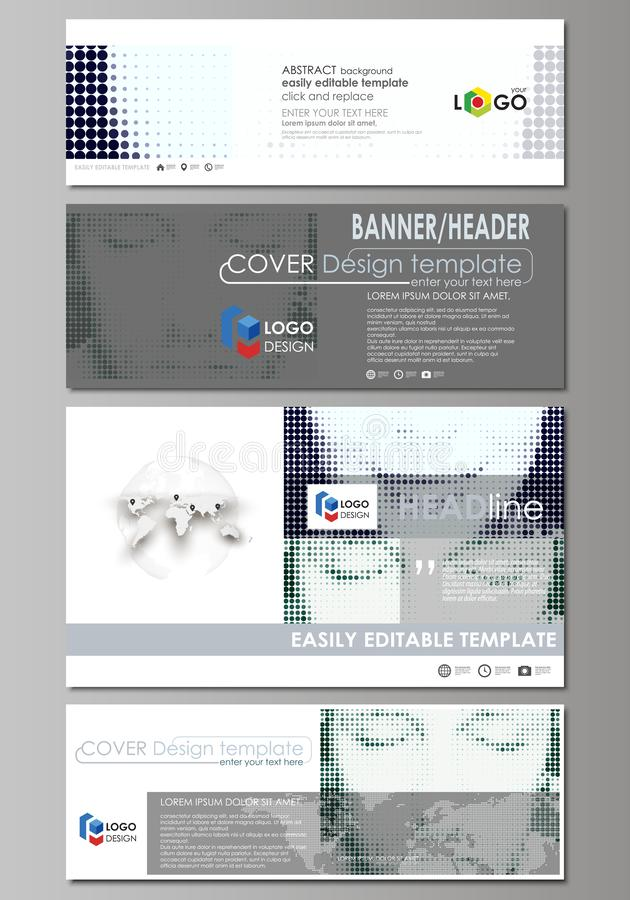 Sociale media en geplaatste e-mailkopballen, moderne banners Abstract ontwerpmalplaatje, vectorlay-outs in populaire grootte half stock illustratie