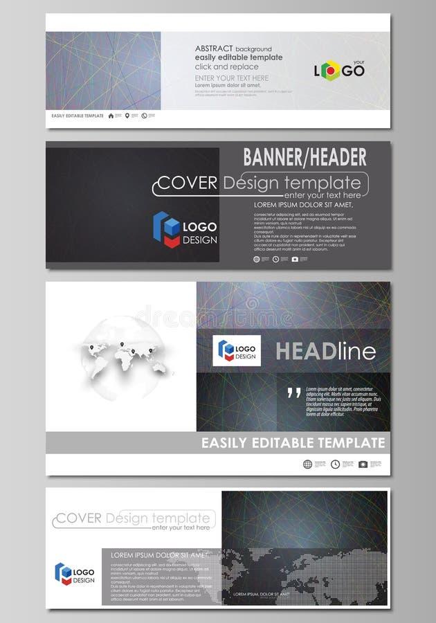 Sociale media en geplaatste e-mailkopballen, moderne banners Bedrijfs malplaatjes Vectorlay-outs in populaire grootte Kleurrijke  royalty-vrije illustratie