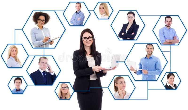 Sociale media en internationaal bedrijfsconcept - jonge zaken royalty-vrije stock foto