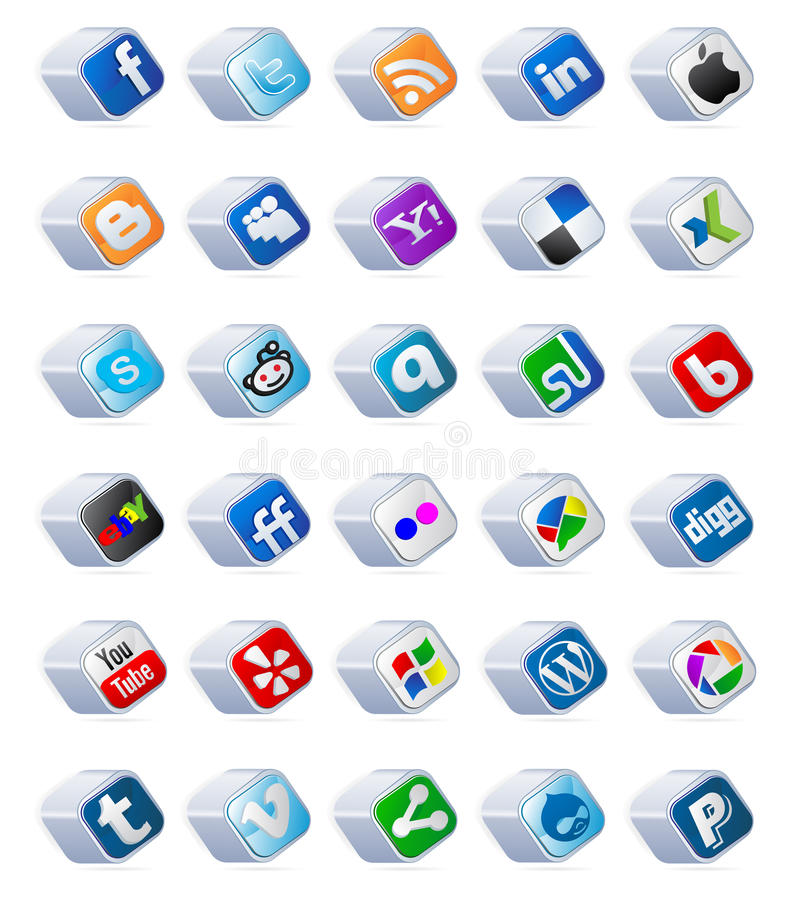 sociale media geplaatste knopen
