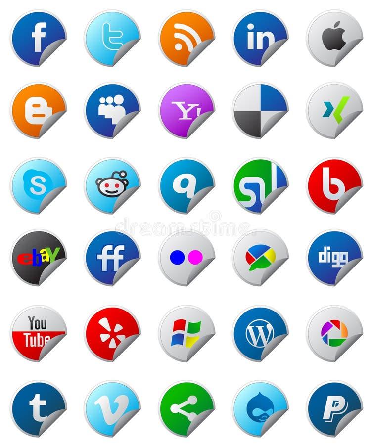 Sociale media geplaatste knopen royalty-vrije illustratie
