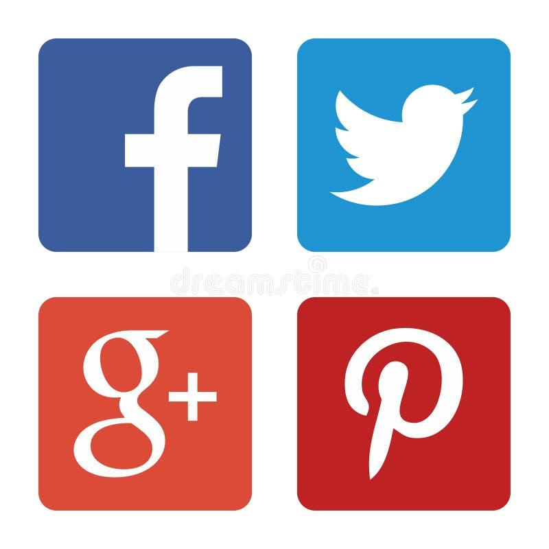 Sociale media geplaatste pictogrammen Webemblemen in vector stock illustratie