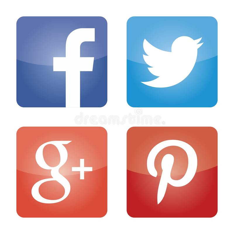 Sociale media geplaatste pictogrammen Webemblemen in vector royalty-vrije illustratie