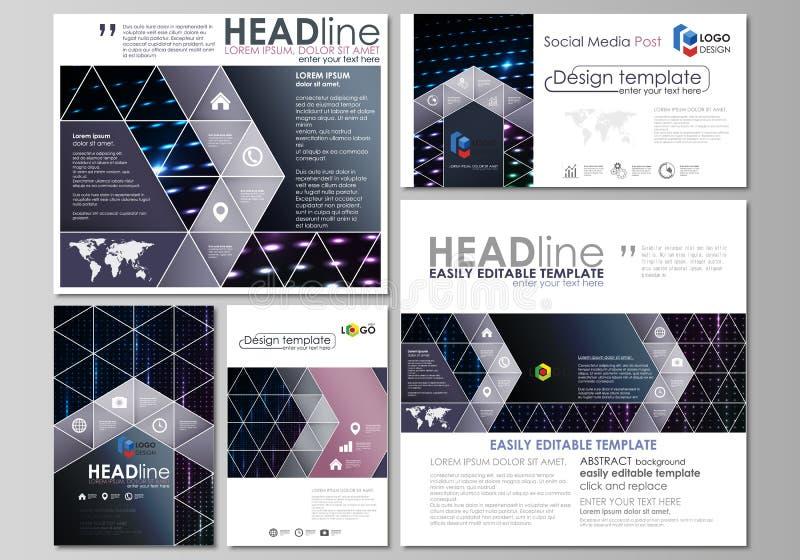 Sociale media geplaatste posten Bedrijfs malplaatje Lay-outs in populaire formaten Abstracte kleurrijke neonpunten, gestippelde t stock illustratie