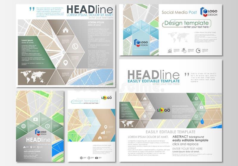 Sociale media geplaatste posten Bedrijfs malplaatjes Gemakkelijke editable lay-outs in populaire formaten Stadskaart met straten  royalty-vrije illustratie