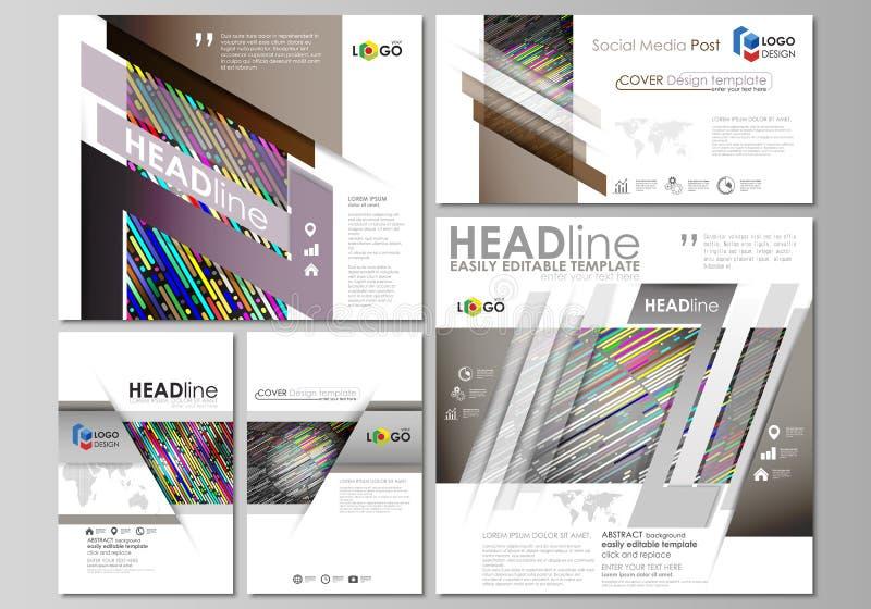 Sociale media geplaatste posten Bedrijfs malplaatjes Vectorontwerpmalplaatje, lay-outs in populaire formaten Kleurrijke gemaakte  vector illustratie