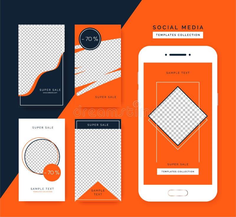 Sociale media geplaatste verhalenmalplaatjes In achtergronden voor sociale media, smartphone app vector illustratie