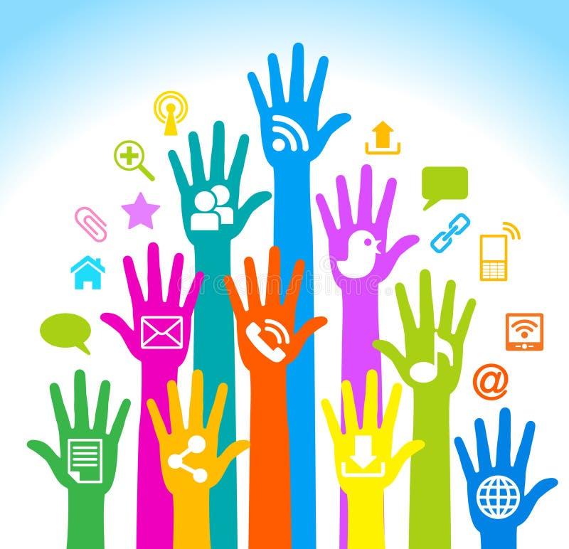 Sociale media handen royalty-vrije illustratie