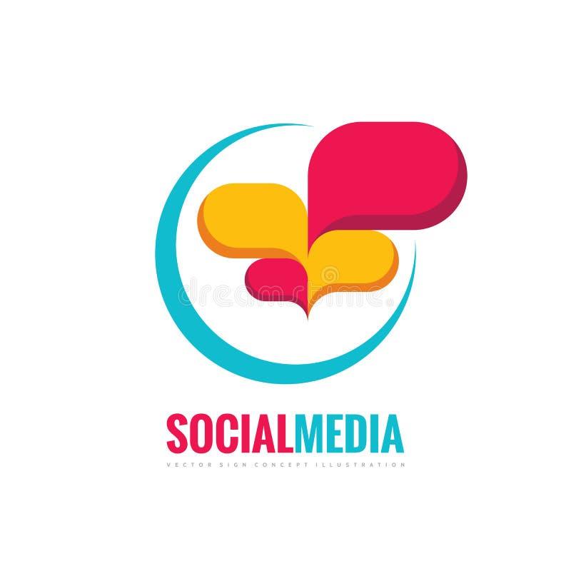 Sociale media - illustratie van het het embleemconcept van toespraakbellen de vector in vlakke stijl Dialoogpictogram praatjeteke royalty-vrije illustratie