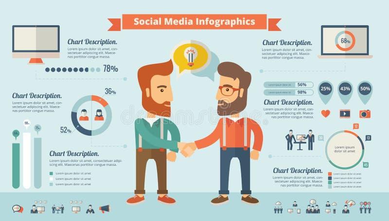 Sociale media infographic elementen stock illustratie