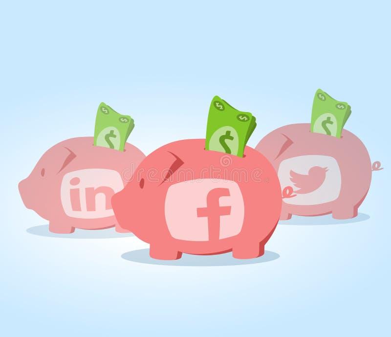 Sociale media investering stock illustratie