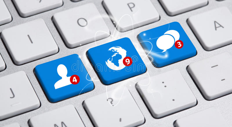 Sociale media knoop op toetsenbord stock illustratie