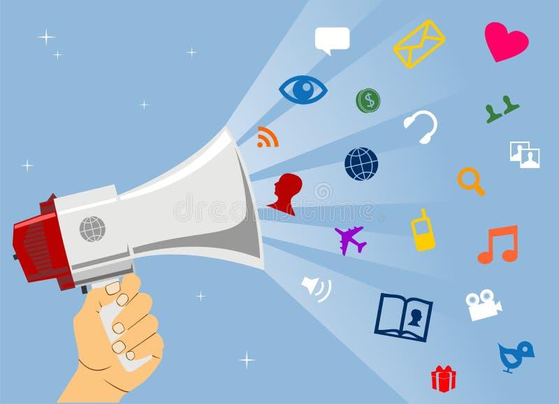 Sociale media mededeling royalty-vrije illustratie