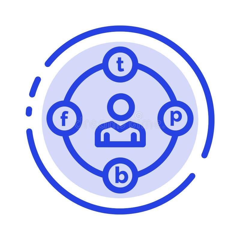 Sociale Media, Mededeling, Afleiding, Media, de Lijnpictogram van de Uitstel Blauw Gestippelde Lijn stock illustratie