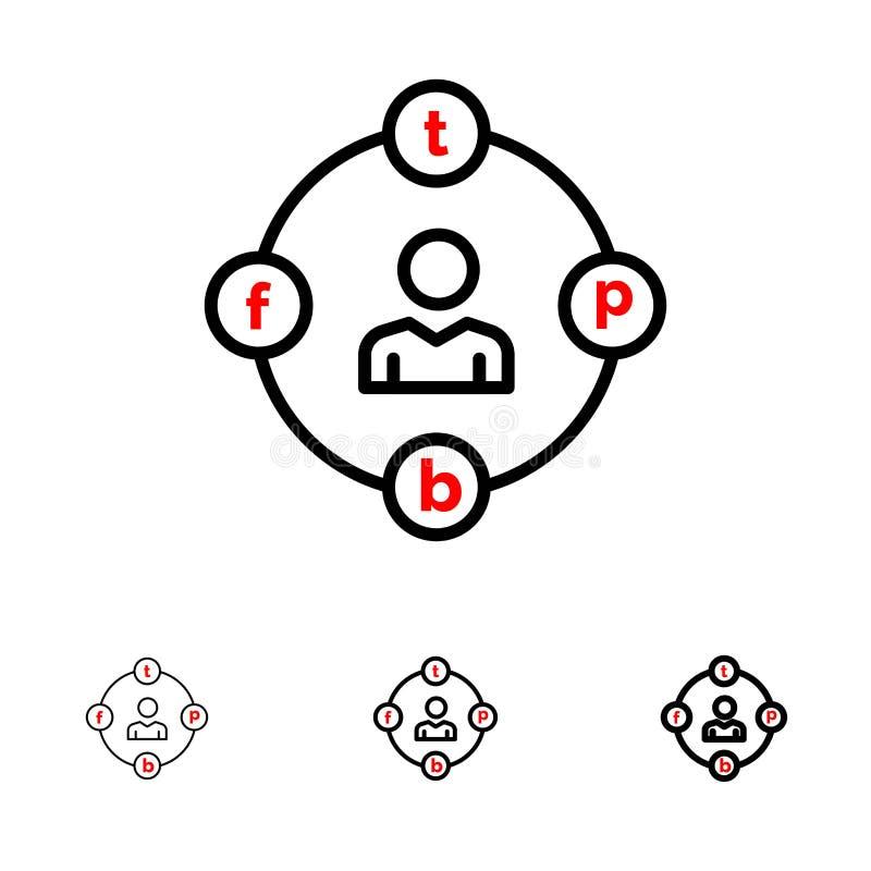 Sociale Media, Mededeling, Afleiding, Media, het pictogramreeks van de Uitstel Gewaagde en dunne zwarte lijn vector illustratie