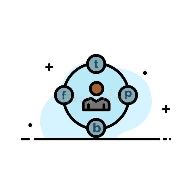 Sociale Media, Mededeling, Afleiding, Media, Malplaatje Uitstel van de Bedrijfs het Vlakke Lijn Gevulde Pictogram Vectorbanner stock illustratie