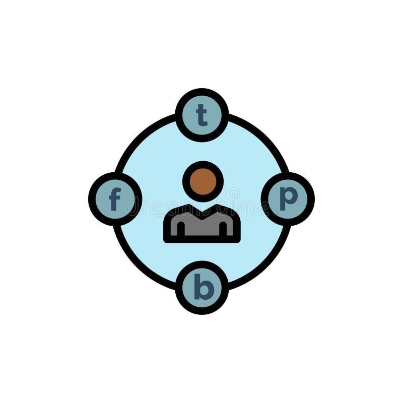 Sociale Media, Mededeling, Afleiding, Media, Pictogram van de Uitstel het Vlakke Kleur Het vectormalplaatje van de pictogrambanne royalty-vrije illustratie