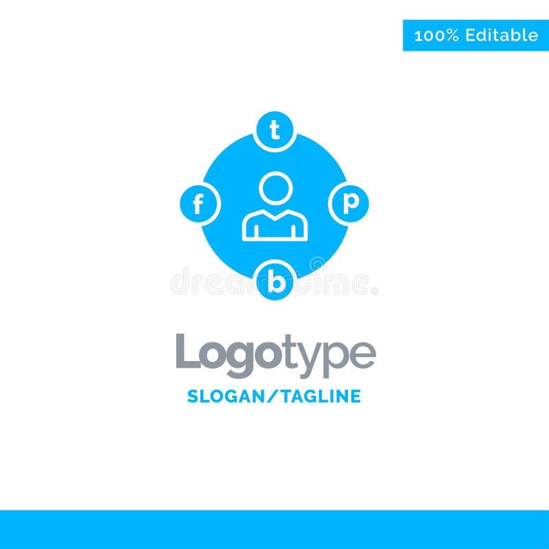 Sociale Media, Mededeling, Afleiding, Media, Uitstel Blauw Stevig Logo Template Plaats voor Tagline vector illustratie