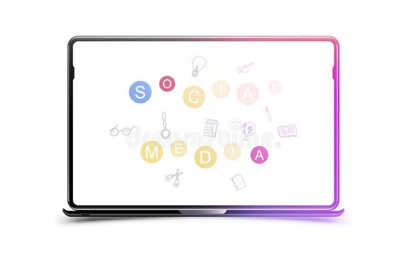 Sociale media met krabbelpictogrammen in laptop op de witte achtergrond Vlakke Vectorillustratie EPS 10 royalty-vrije illustratie