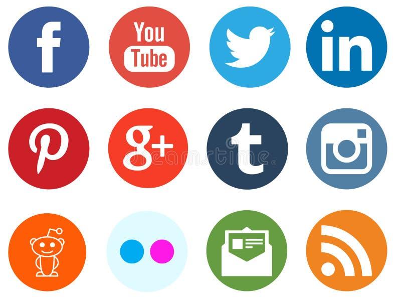 Sociale media netwerkemblemen royalty-vrije stock foto's