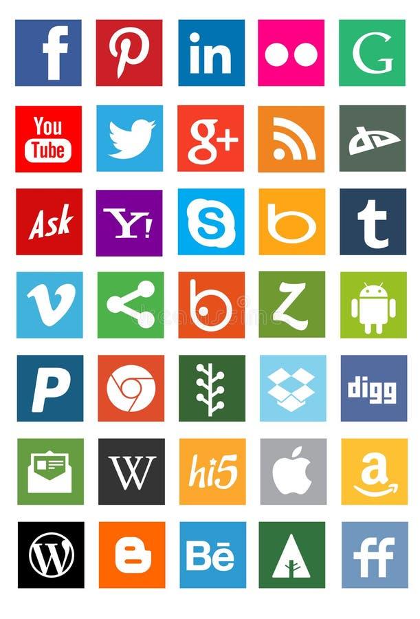 Sociale media netwerkemblemen royalty-vrije stock fotografie