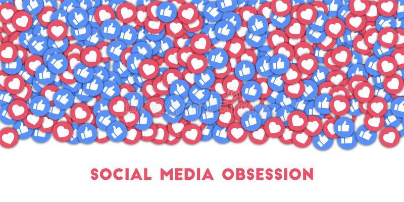 Sociale media obsessie Sociale media pictogrammen op abstracte vormachtergrond met verspreide duimen omhoog en harten royalty-vrije stock afbeelding
