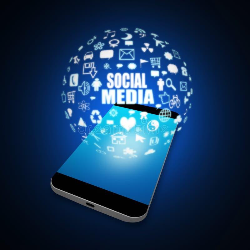 Sociale media op Mobiele Telefoon, de illustratie van de celtelefoon stock illustratie