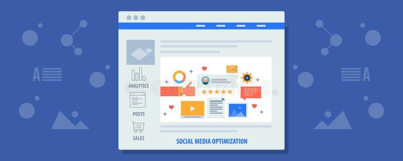 Sociale media optimalisering die - geoptimaliseerde inhoud op sociaal netwerk delen Digitale media die concept op de markt brenge stock illustratie