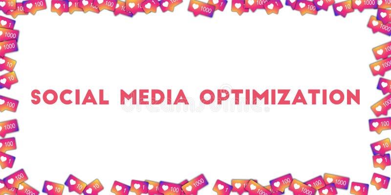 Sociale Media Optimalisering Sociale media pictogrammen op abstracte vormachtergrond met gradiëntteller stock illustratie