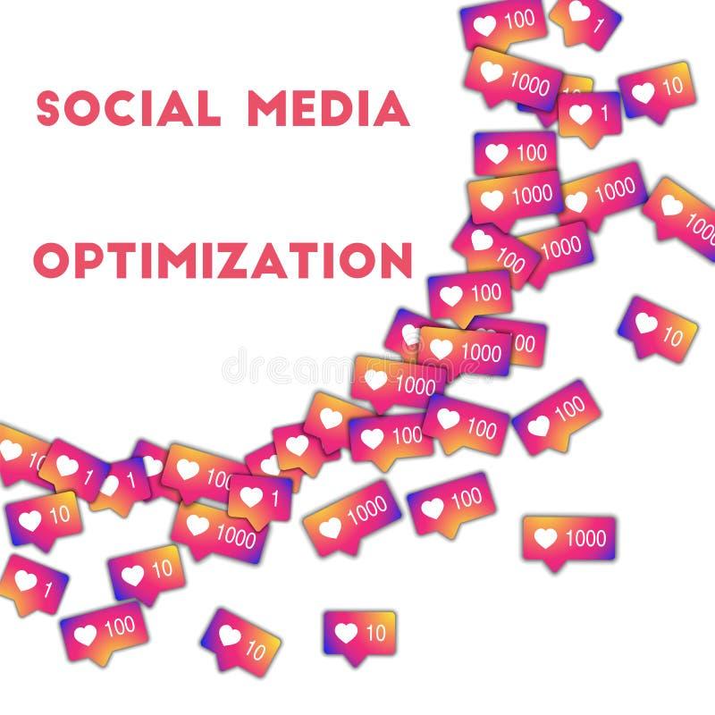 Sociale Media Optimalisering Sociale media pictogrammen op abstracte vormachtergrond met gradiëntteller Zo vector illustratie