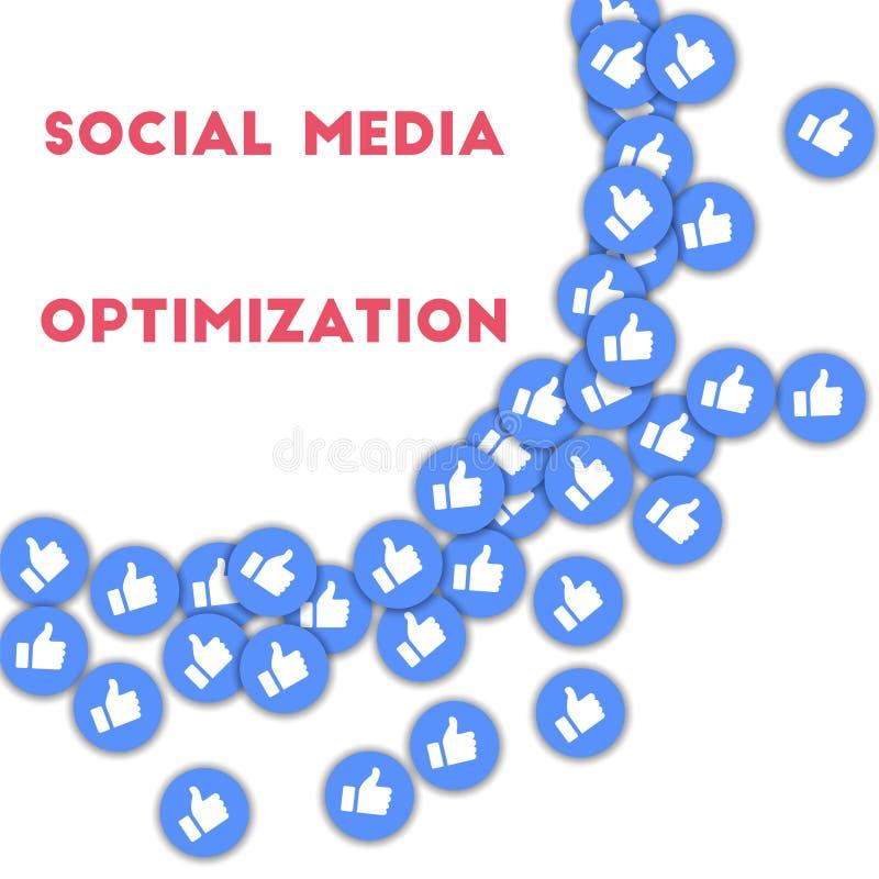 Sociale Media Optimalisering Sociale media pictogrammen op abstracte vormachtergrond met verspreide omhoog duimen vector illustratie