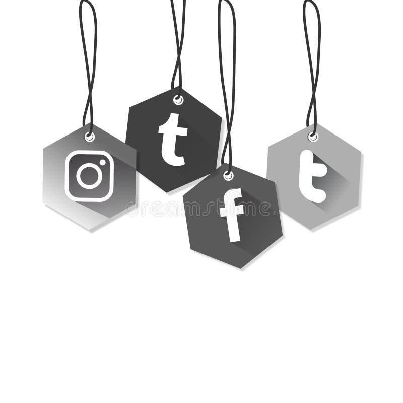 Sociale media Pictogram vierkante zes grijze afhankelijk royalty-vrije illustratie