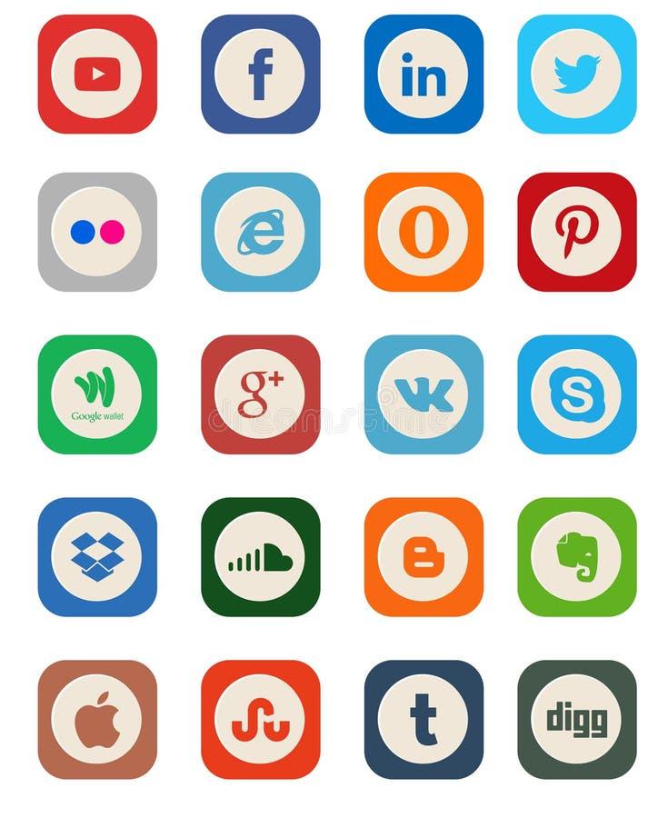 Sociale Media Pictograminzameling stock illustratie