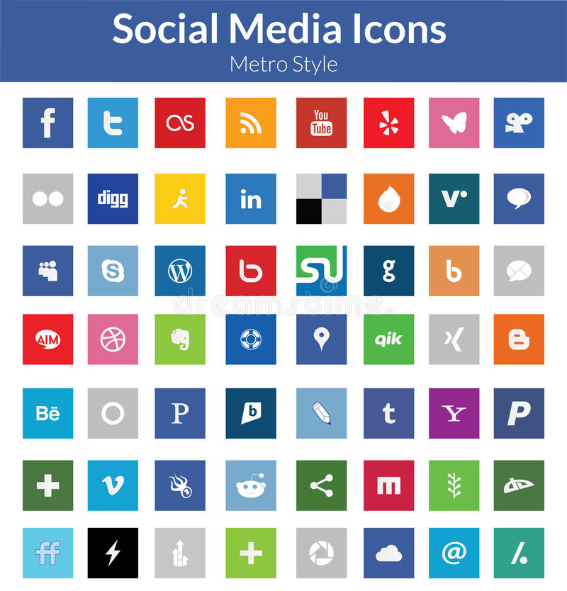 Sociale Media Pictogrammen (Metro Stijl) vector illustratie