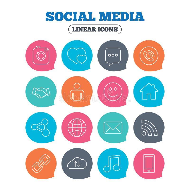 Sociale media pictogrammen Toespraakbel, minnaars vector illustratie