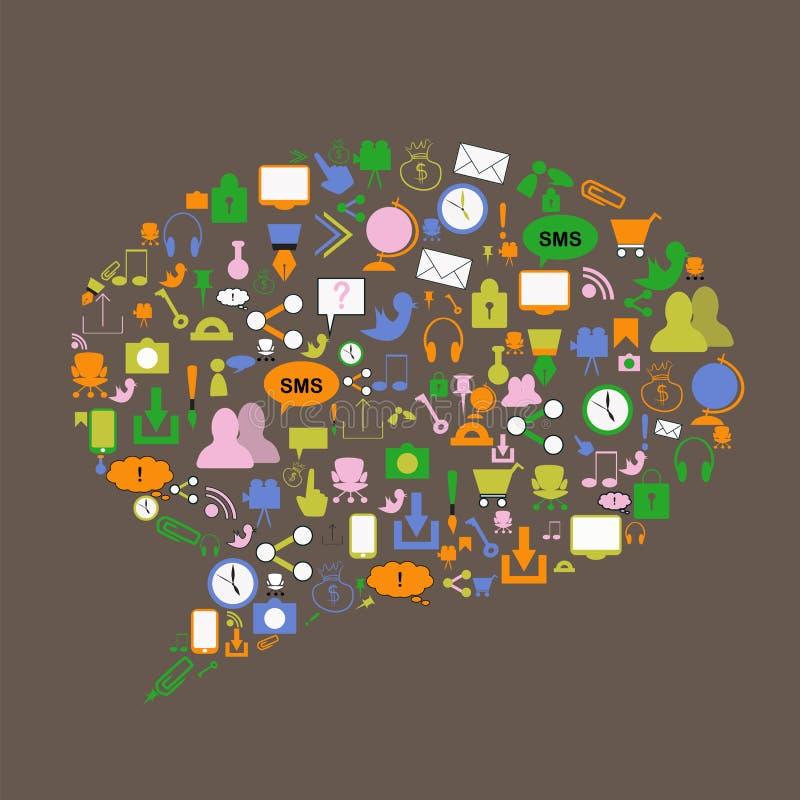Sociale media pictogrammen in verschillende kleuren royalty-vrije illustratie