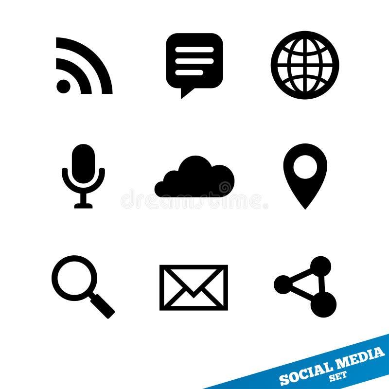 Sociale media pictogrammen. Zwarte tekens voor app. Vector. vector illustratie