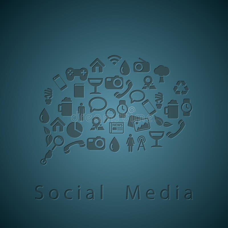 Sociale media pictogrammentextuur in praatjebel stock illustratie